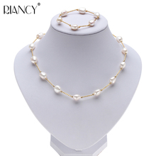Fashion Pearl Jewelry sets Baroque Natural Freshwater Pearl Necklace bracelets 925 Sterling Silver Jewelry Sets For Women gift natural gold freshwater pearl jewelry sets necklace