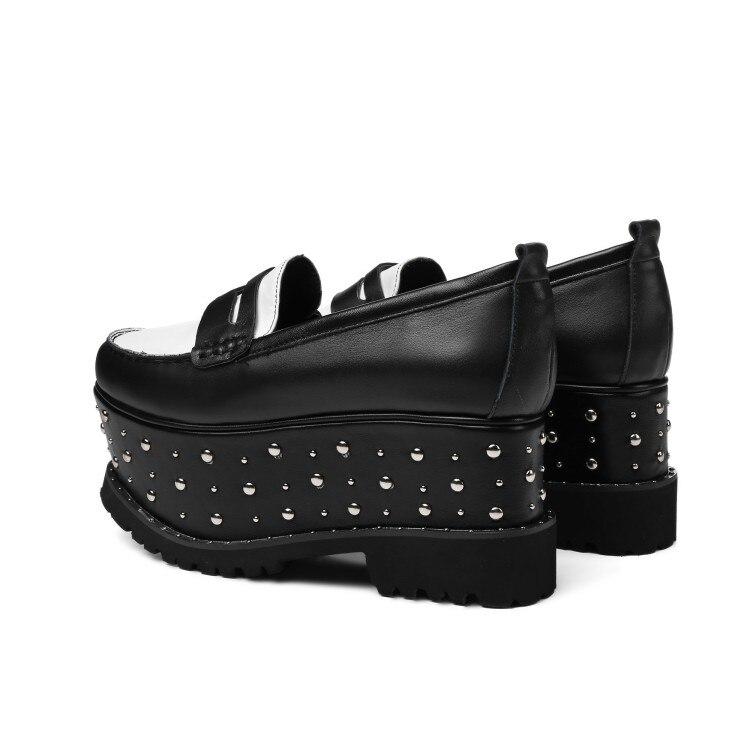 Nieten Leder {zorssar} Pumps Creepers Schuhe Neue 2018 Heels Schwarz 8 Mode Echte Damen Cm Frauen High Plattform Ankunft CBEdWQroex