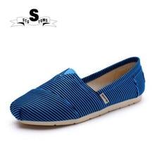 e2d254ccf النساء قماش الأحذية بلون الإناث الأخفاف زلة على متعطل مخطط الأزرق تصميم  للجنسين المشي أحذية Chaussure