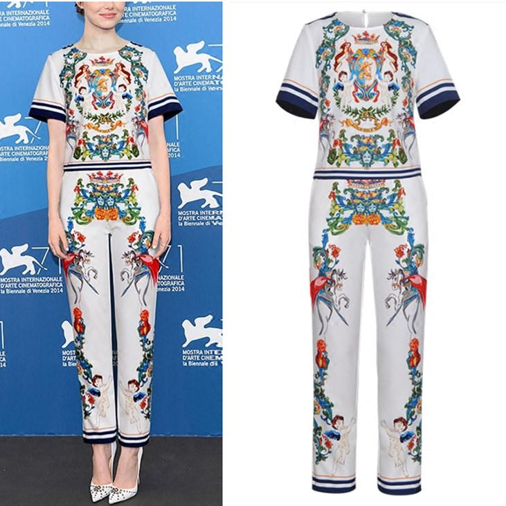 Runway Famous Stars Design 2018 Women Pants Suit Vintage Retro Angels Floral Print  Blouses Tops And Slim Party Pants Suit NS845