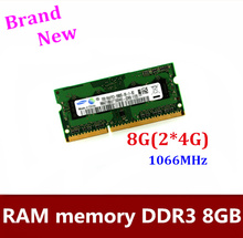 Free shipping  4GB 1pair  Laptop Memory DDR3 RAM 1066MHz  SoDimm 8GB   2*4GB  DDR3 PC3-8500 1066MHz module memory  NEW