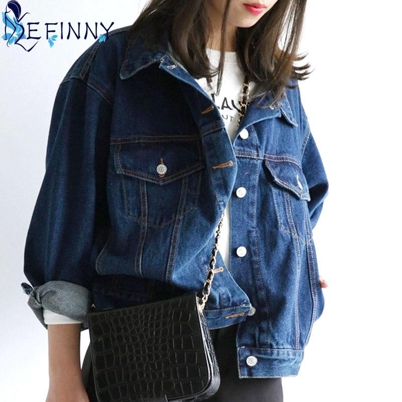 EFINNY 2017 New Brand Woman Fashion Denim   Jackets   Turn-down Collar Blue Jean Coats Women   Jacket