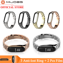 Mijobs Metal Wrist Strap for Mi Band 4 Bracelet For Xiaomi 3 Screwless Stainless Steel Miband Wristband