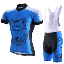 Wolf Pattern Pro Fit Cycling Sets Short Sleeve Jerseys+Bib Shorts MTB Jerseys Breathable Ropa Ciclismo Kits