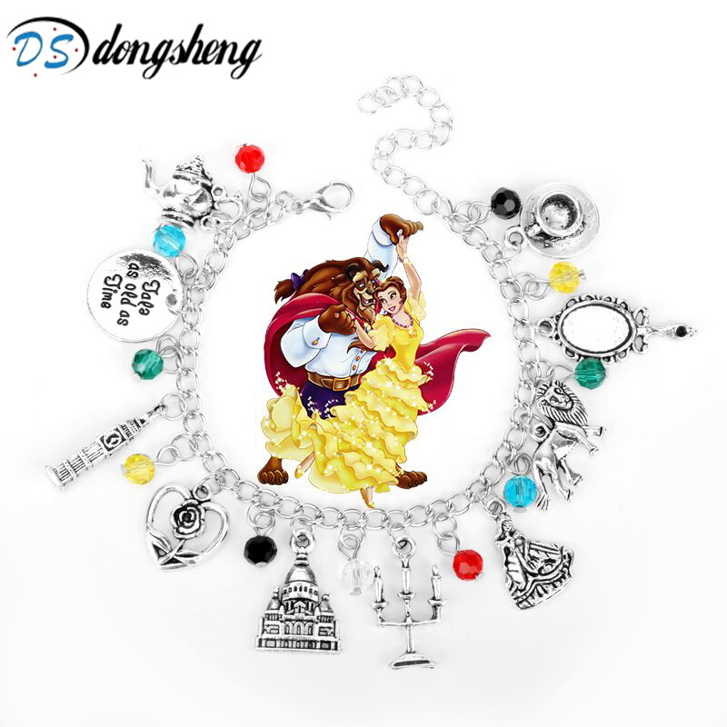 New Beauty And Beast Charm Bracelet Moana Bracelet Roses Mirror Castle Clock Lion Harpoon Accessories jewelry Women Jewelry -25