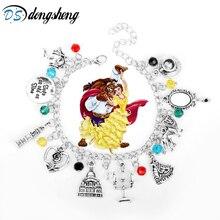 Nueva pulsera de La Bella y La Bestia, pulsera de Moana, espejo en forma de rosas, reloj con diseño de Castillo, León, accesorios con arpón, joyería para mujer, 25