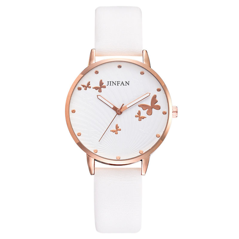 Printed Butterfly Luxury Women Fashion Watches Simple Female Dress Wristwatches Classical Design Ladies Quartz Leather Watch