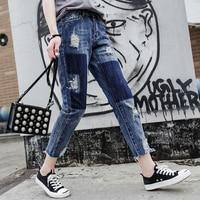 Vrouwen Jeans Kleurblok Bagger Patch Werk Vintage Zakken Fashion Bekrast Harem Jeans Gewassen Denim Rits Denim Thong Pant