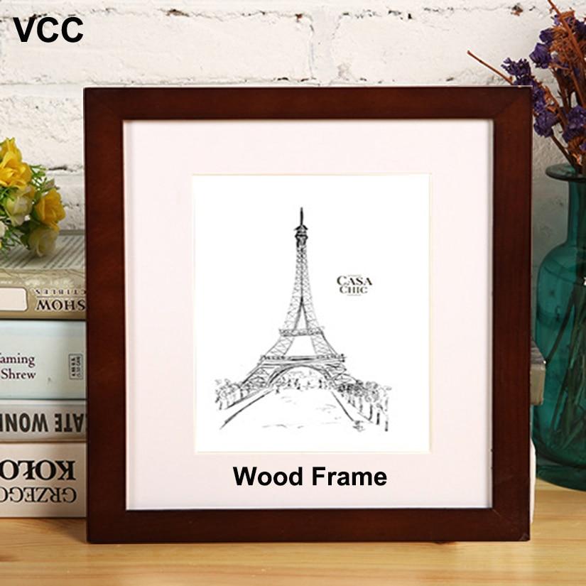 Природная деревянная квадратная рама для картины 30X30 35X35cm плексиглас включает в себя плакат фоторамки для настенной висячей фоторамки