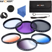 K&F CONCEPT 62mm Camera Filter Kit UV CPL FLD+Graduated Grey Blue Orange Color Filter+Lens Pouch+Hood/Cap+Cleaning Cloth