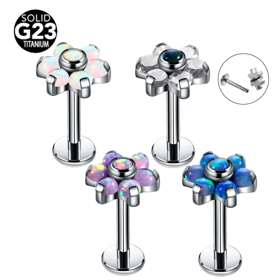 1Pc G23 Titanium Opal Lip Rings Flower Ear Stud Rings Tragus Earring Conch Piercings Labret Ring Dermal Anchor Tops Body Jewelry magnetic labret ear nose spike 16