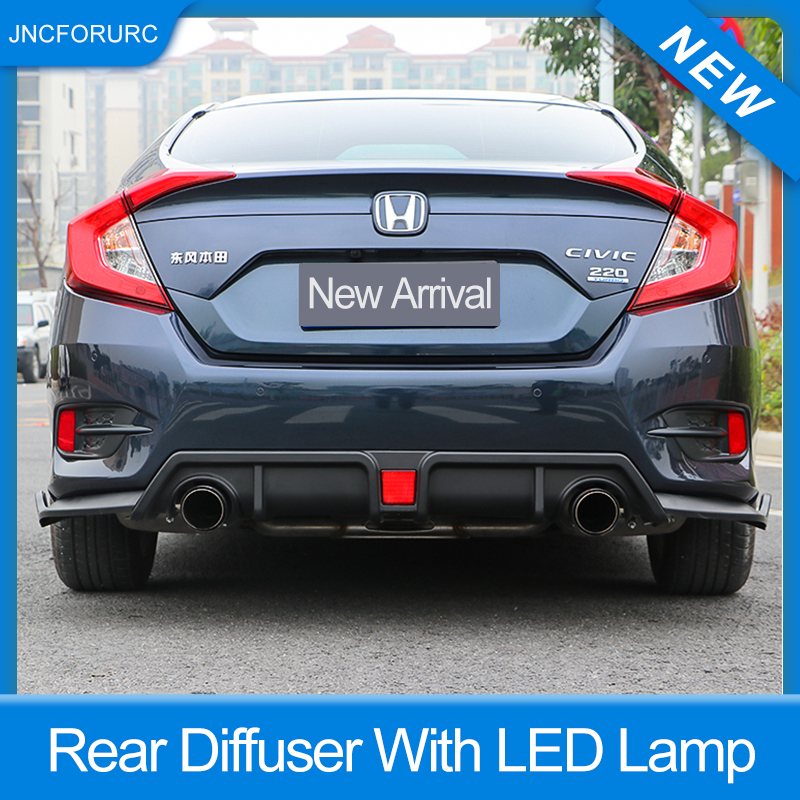 Quality PP Plastic Bodykit For Honda Civic FC 2016 17 18 Rear Diffuser Bumper Kit With LED Lamp 3pcs/set carbon Black color