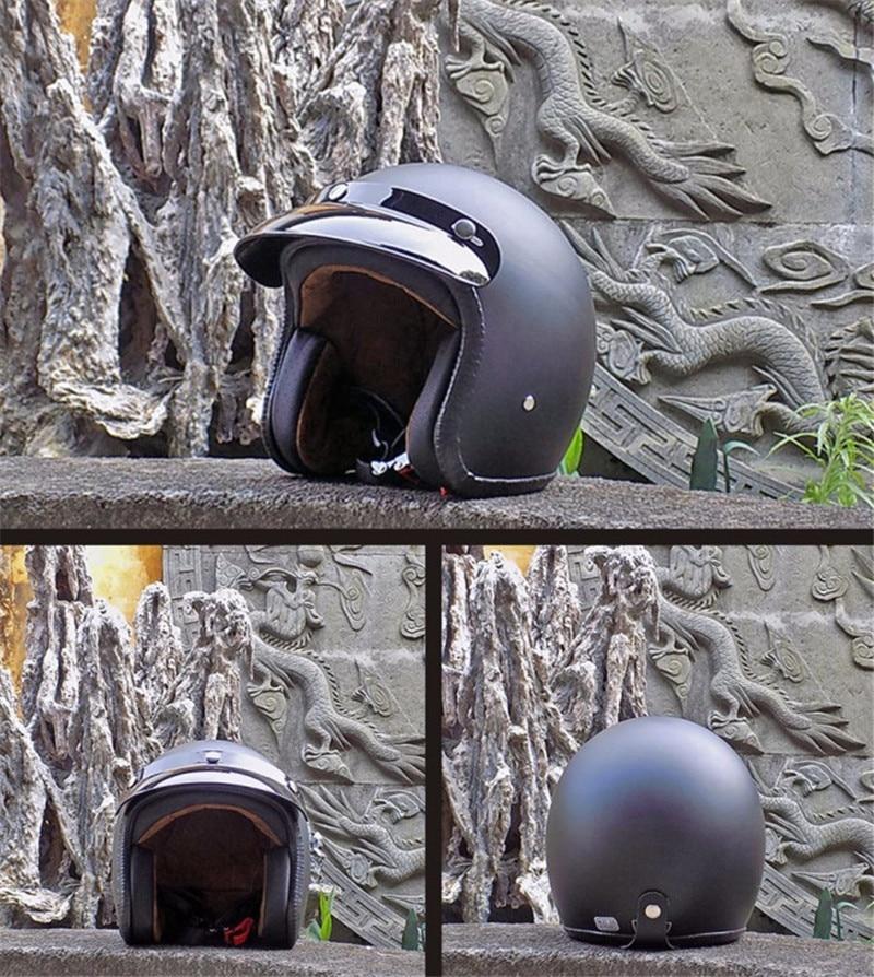 Motorcycle Cafe Racer Helmet Open Face Scooter Helmet For Adults 3/4 Moto Retro Jet Helmets Harley Motorcycle Moto