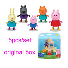 Original PEPPA PIG 5 unids/set figura de acción figuras coleccionables peppa + george + candy + Dany + Rebeca con original caja de juguete(China)