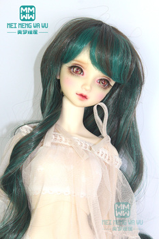 Dolls wig for 1/3 1/4 1/6 BJD/SD doll accessories applicable Long Wavey dolls hair Black brown, dark green color 096 image
