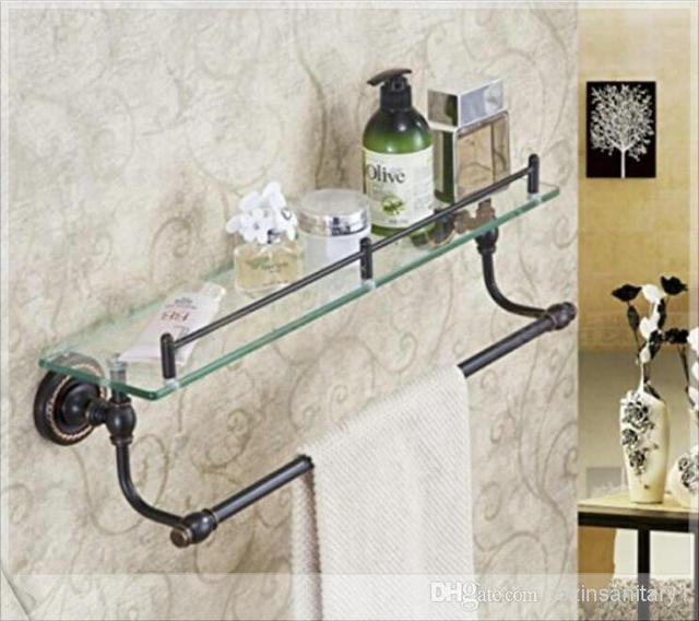 Luxury Oil Rubbed Bronze Bath Shelf Glass Tier Storage Holder W
