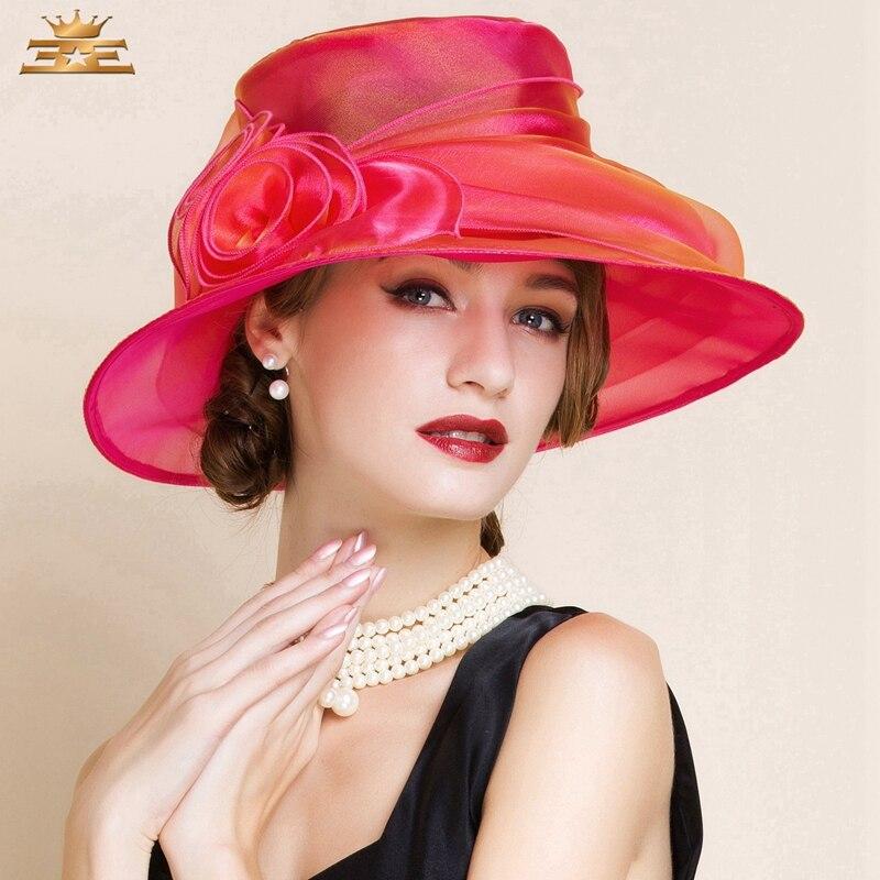 Lady Summer Red Organza Hat Women Elegant Flower Wide Brim Kentucky Derby Hats Lady Vintage Church
