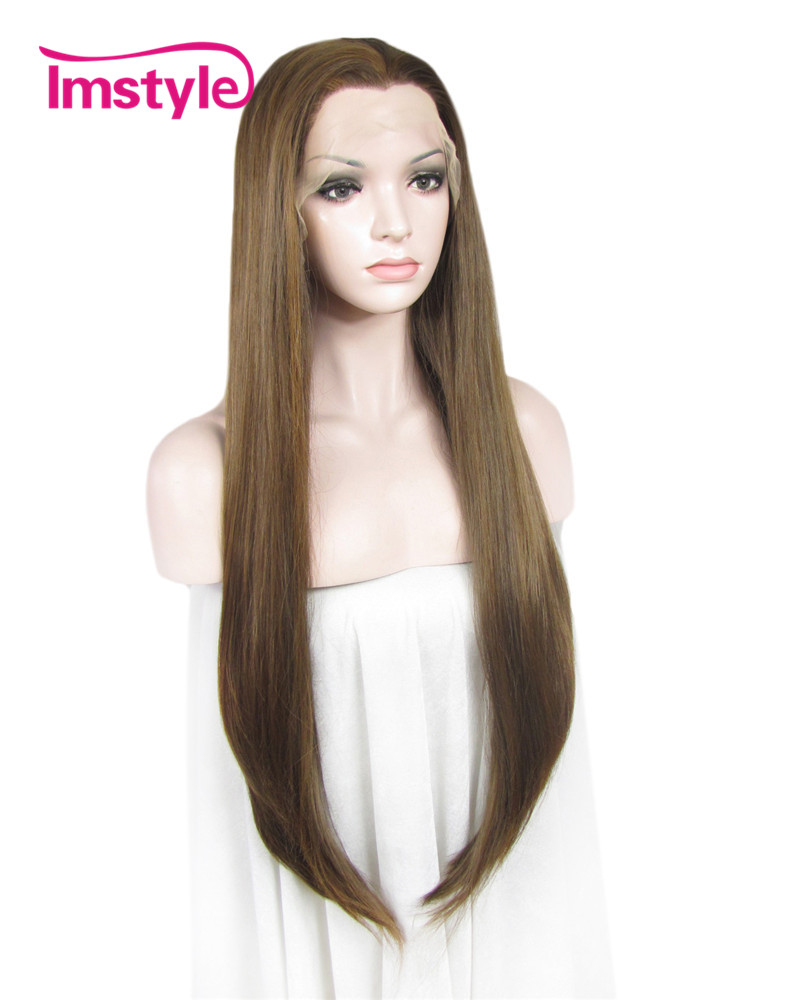 Imstyle Lace Front Wigs For Women Long Straight Brown Synthetic Wig With Heat Resistant Fiber Natural Hair 30 inch