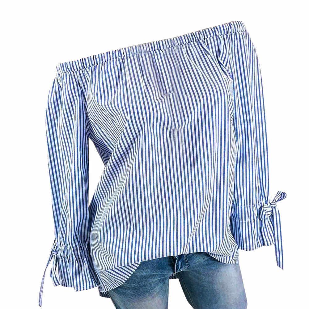 ブルーピンク特大女性ブラウスオフショルダーファッション長袖シャツストライプセクシーなトップス夏秋レディース服 S-5XL # NL