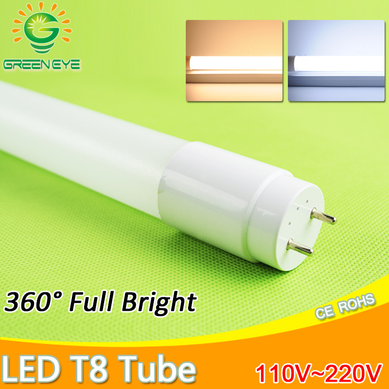 LED Tube T8 10w 60cm AC110v 220v LED Fluorescent Light Tube LED Lamp milky cover Warm ColdWhite red blue pink SMD2835 Bulb neon