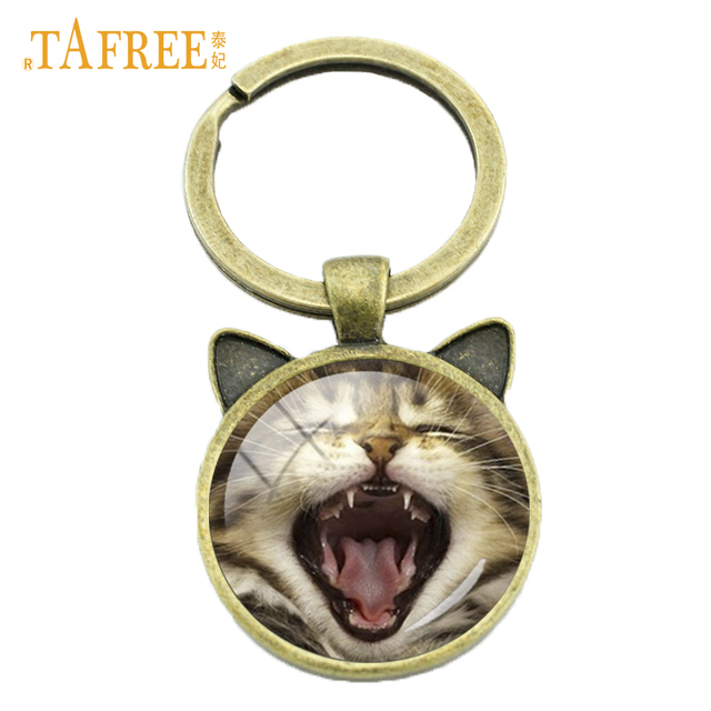 TAFREE Handmade glass gem cat   tiger keychain lovely Yawning Scottish Fold key  chain ring holder new women animal jewelry CN790 603c103b7