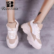 RIZABINA New Women Sneakers Casual Mixed Color Lace Up Wedges Platform Vulcanized Shoes Vacation Hiking Size 35-40