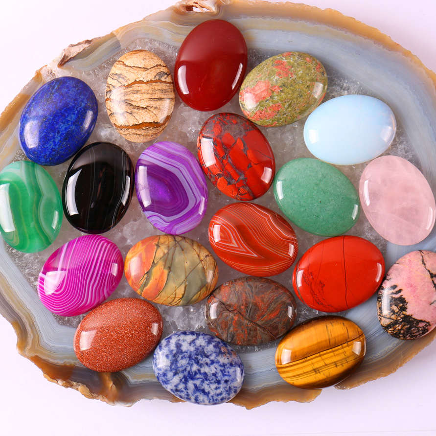40x30MM Natural Mixed Stone GEM Bead Oval CAB Cabochon Jewelry (10 pcs/lot) H003