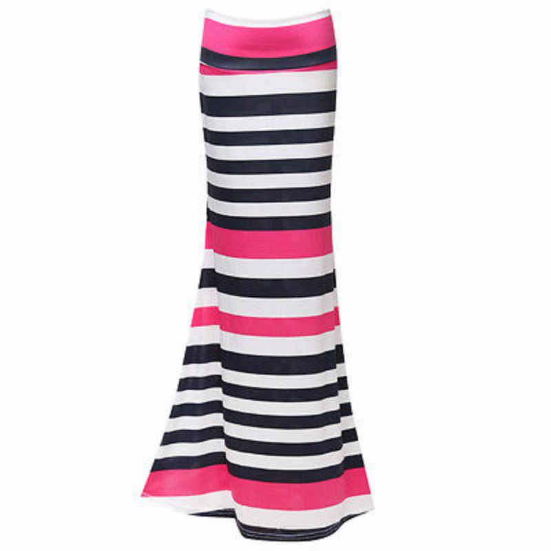 גבירותיי מקסי פסים גודל SMLXL חדש נשים חצאית ארוך צועני ג 'רזי למתוח מלא חצאיות