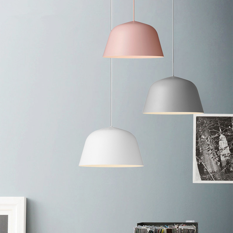 Modern Nordic led Pendant Light Denmark Colored Macaron Aluminum Kitchen Restaurant Light Ceiling Fixtures