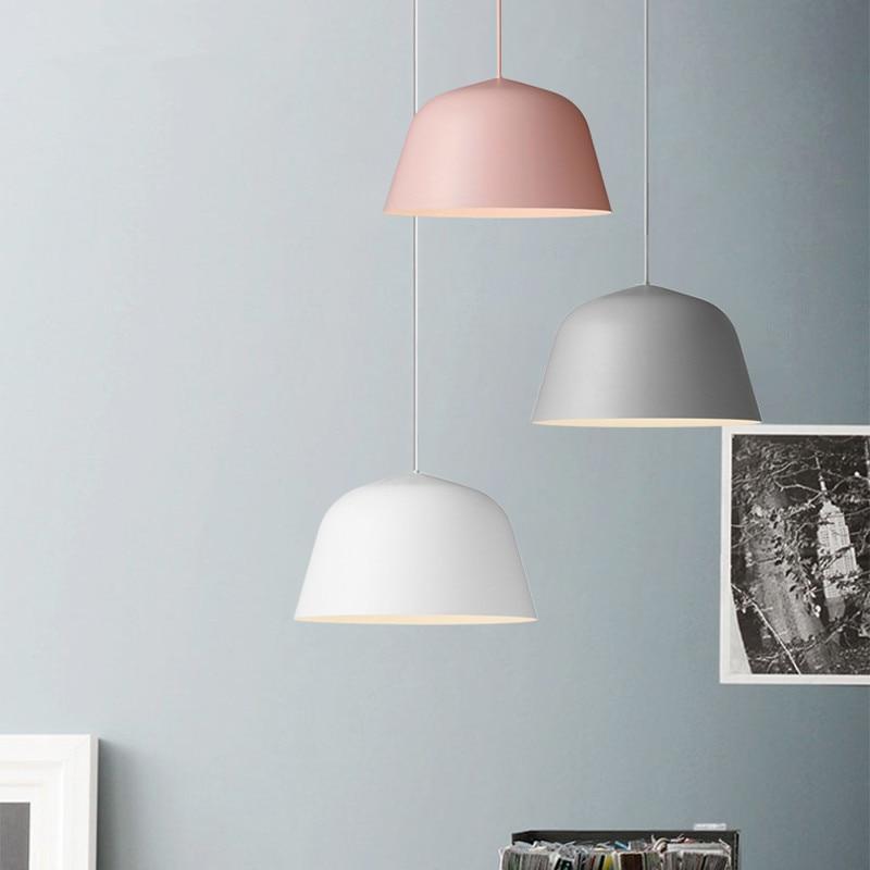 Modern Nordic led Pendant Light Denmark Colored Macaron Aluminum Kitchen Restaurant Light Ceiling Fixtures ...