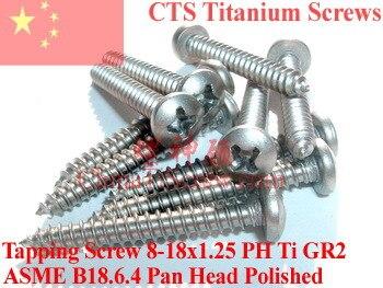 Titanium screws 8x1.25 Pan Head Self Tapping Polished 50 pcs Ti GR2