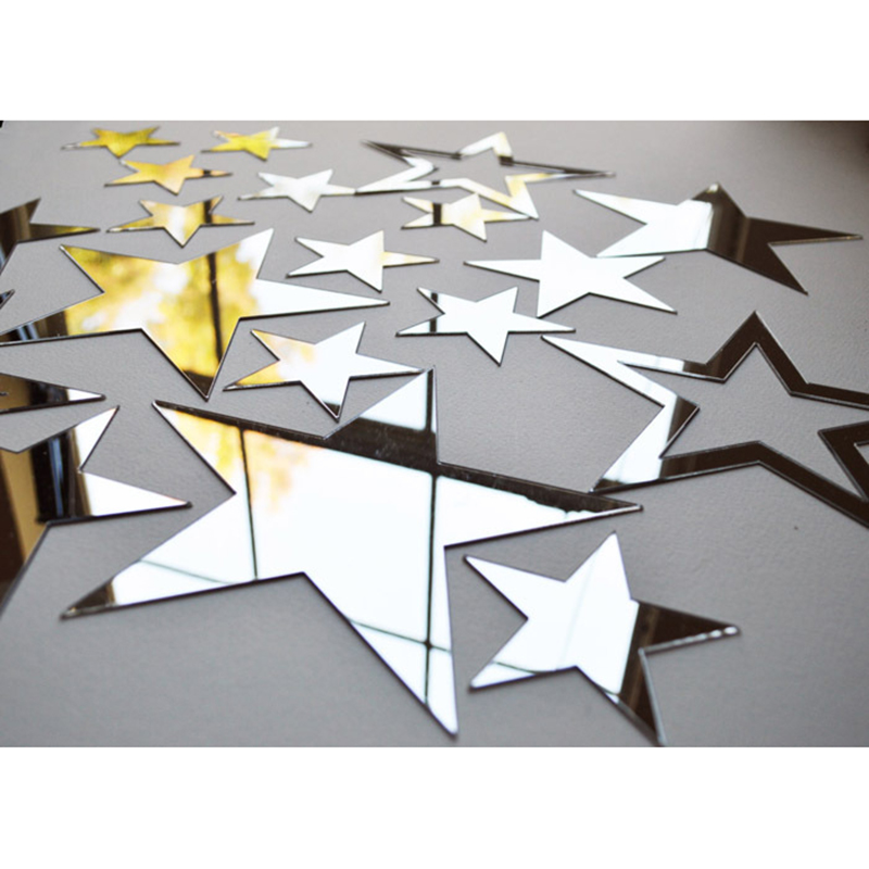 19pcs/set 6/9/12/15cm Acrylic Mirror Sticker Cartoon Starry Wall Stickers For Kids Rooms Home Decor Cute Star Wall Decals Mural