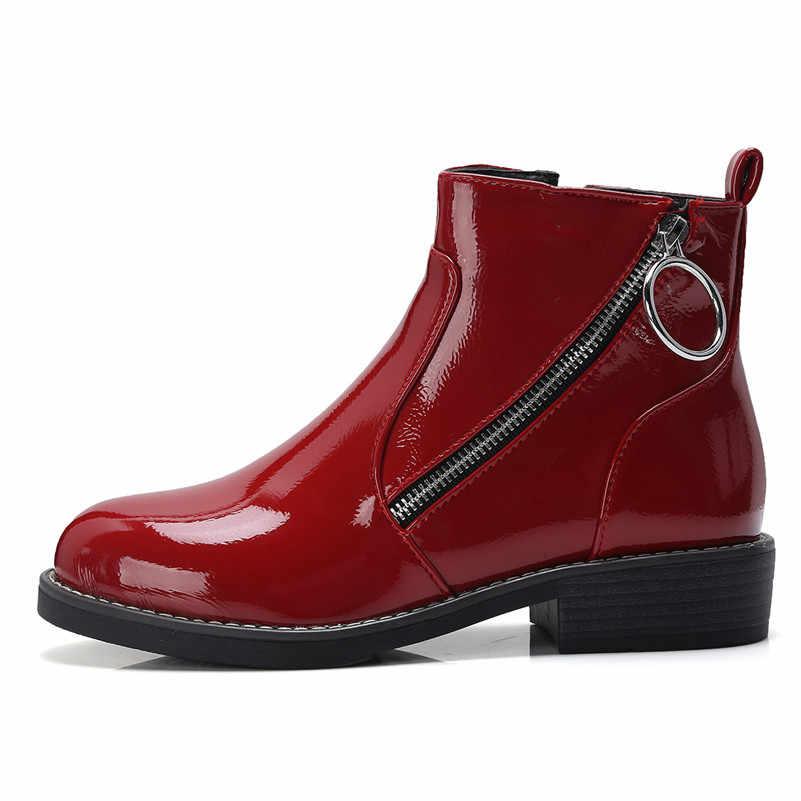 Meotina Vrouwen Laarzen Winter Enkellaars Lakleer Dikke Hak Korte Laarzen Mode Rits Schoenen Lady Fall Red Plus Size 33-43