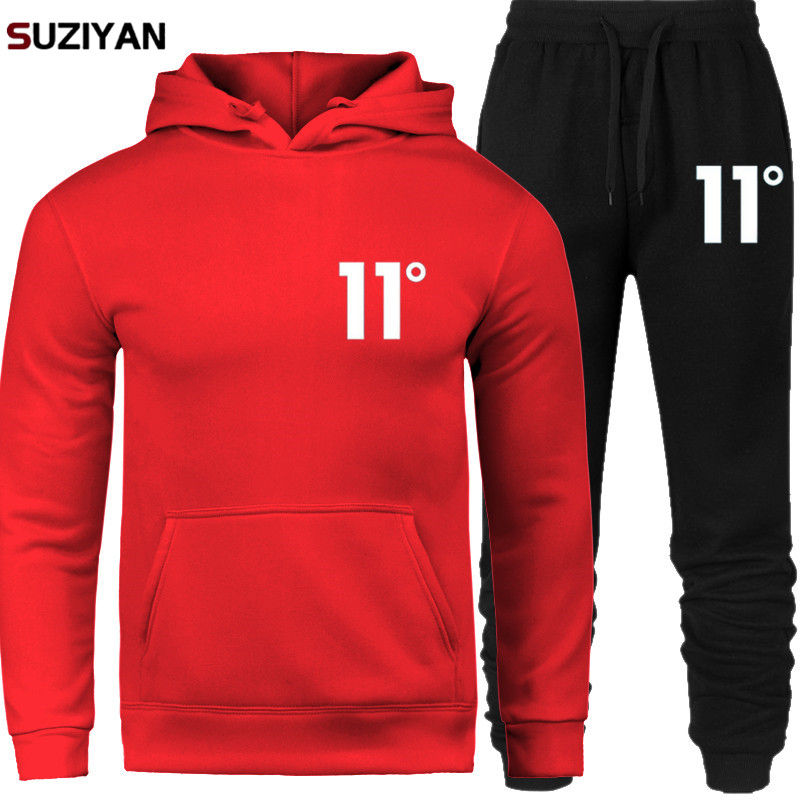 2019 New Brand Men Sportswear Sets Print 11 Tracksuit Thermal Underwear Fleece Thick Hoodie+Pants Malechandal Sporting Suit