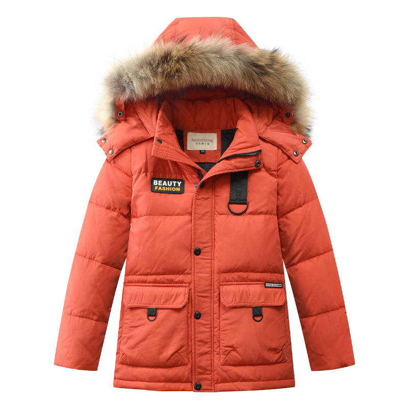 2018 New Children Winter Duck Down Girls Thickening Warm Down Jackets Boys Long Big Fur Hooded Outerwear Coats Kids Down Jacket все цены