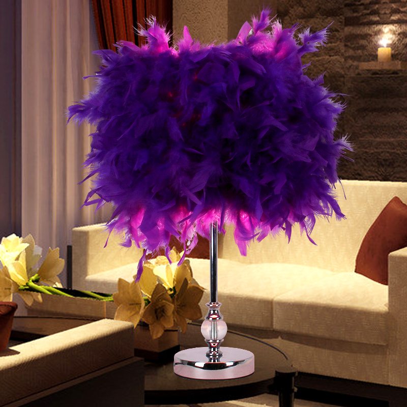 ФОТО Colourful  Feather Shade Metal Vintage Antique Elegant Table Lamp Bedside Desk Light Home