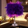 Colourful  Feather Shade Metal Vintage Antique Elegant Table Lamp Bedside Desk Light Home