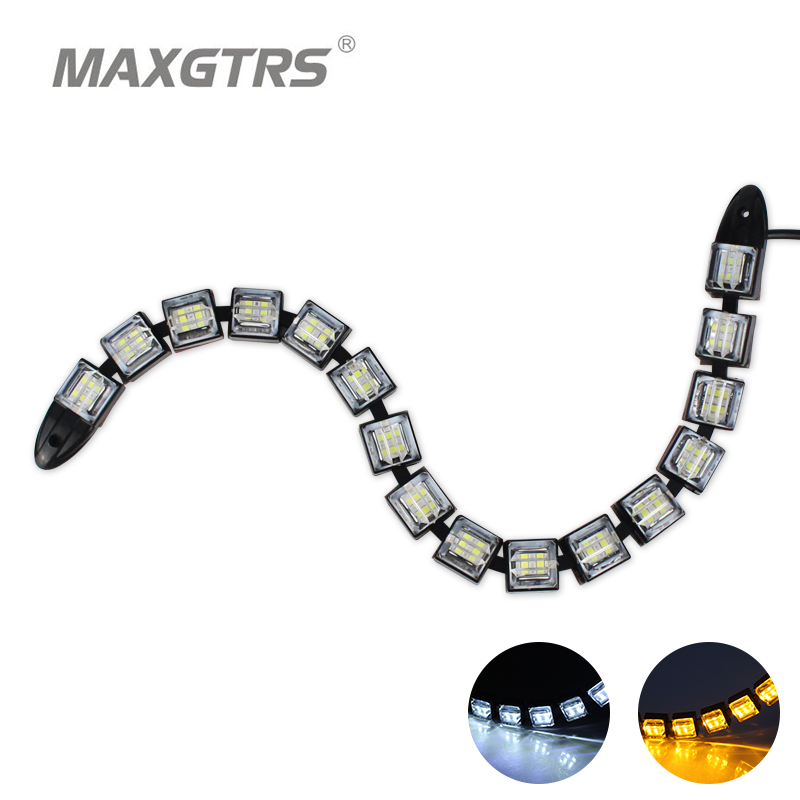 2x 16 LED Car Styling Daytime Running Light Drl Flexible LED Strip Car Fog With Changeable White+Yellow/Amber Turn Signal Light 2pcs 12v car drl led daytime running light flexible tube strip style tear strip car led bar headlight turn signal light parking