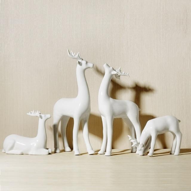 spesso Handmade galzed creativo porcellana bianca cervi ornamento di  XG39