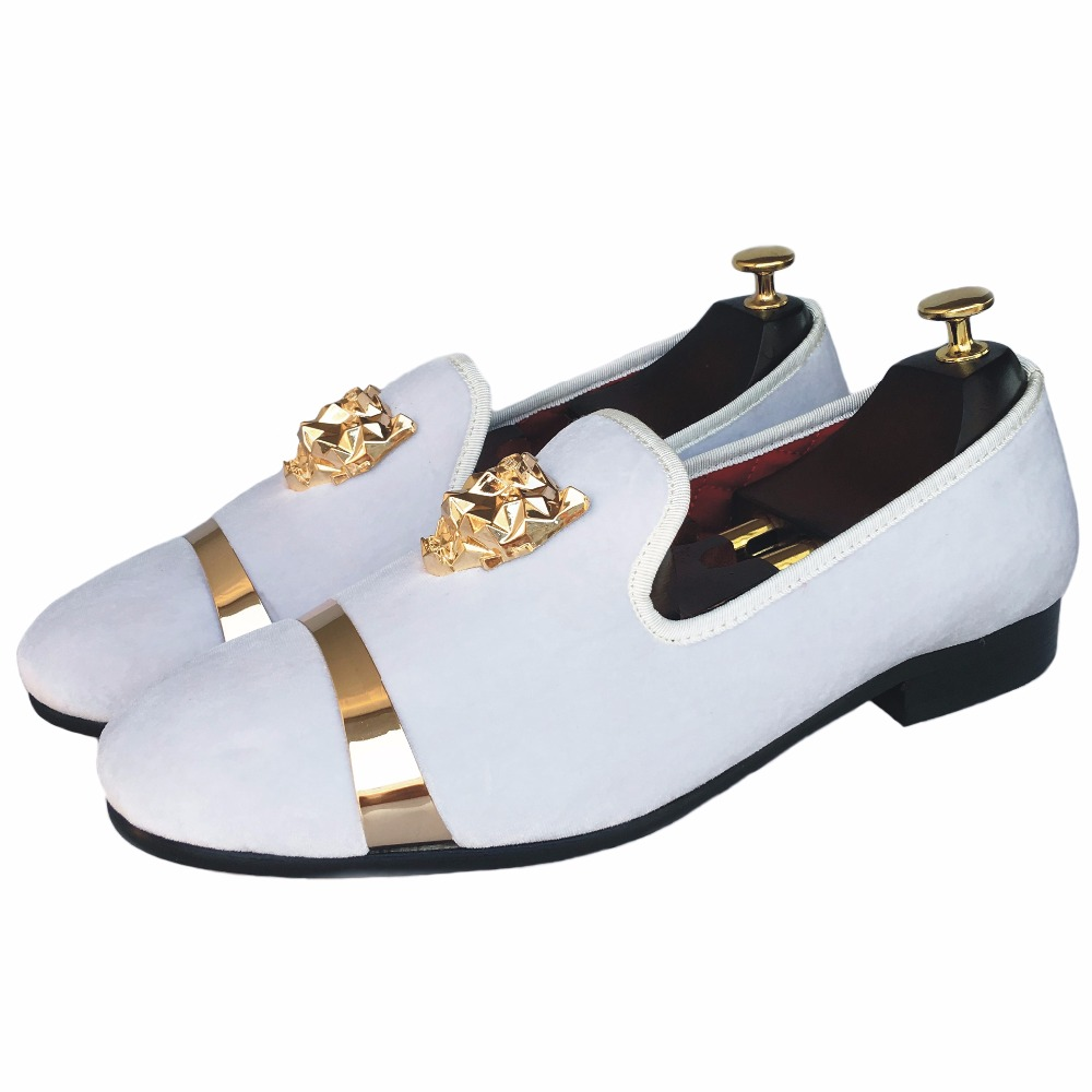 6a1d42059ac4 New Handmade Men Velvet Loafers Shoes White Slippers with Gold Buckle  Wedding and Party Dress Shoes Red Bottom Flats Size 7 13-in Men s Casual  Shoes from ...