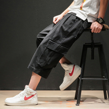 Solid Color Calf-Length Pants Multi-Pockets Safari Style Mens Elastic Waist Large Size