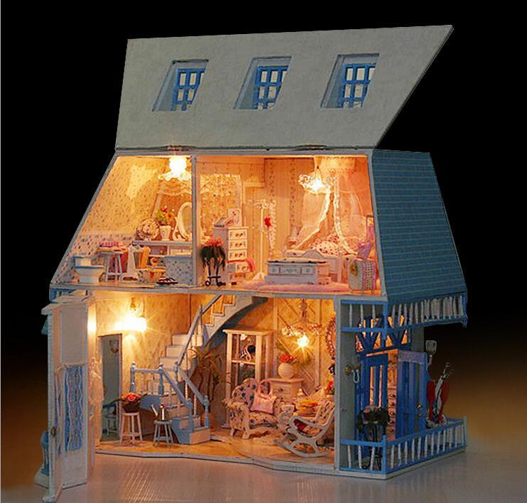 Earnest Voice Control Light Diy Miniature Diy Dollhouse Wooden Doll House Toy Ornaments Kit Toys & Hobbies