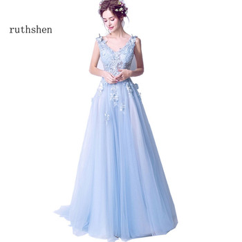 ruthshen Sexy Prom Dresses 2018 New V-Neck Embroidery Butterfly Long Evening Gowns See Through Light Blue Formal Dress 1