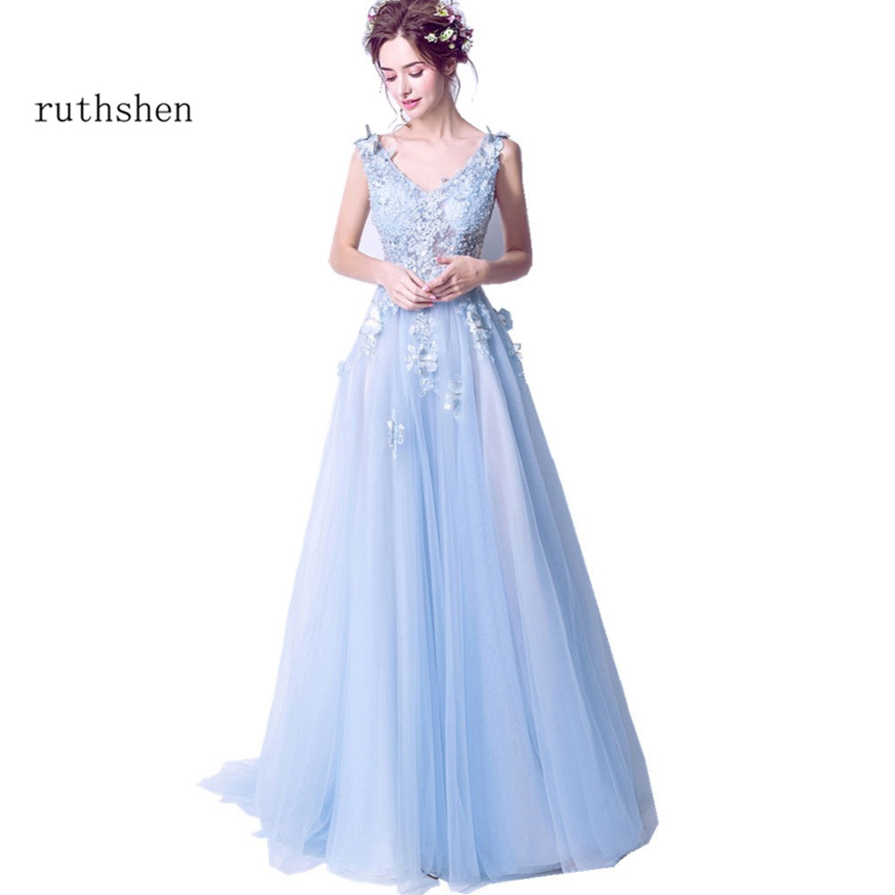 ruthshen Sexy   Prom     Dresses   2018 New V-Neck Embroidery Butterfly Long Evening Gowns See Through Light Blue Formal   Dress