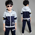 Hot Sale New 2016 Spring Kids Clothes Long Sleeve Pullover Thick Hooded Sports Suit Casual Boys Clothing Sets Free Shipping