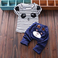 2017New Infant Clothes 1-3 Years Old Boys Girls Summer Short-Sleeved Striped T-Shirt And Solid Color Pants Cartoon Clothing Sets