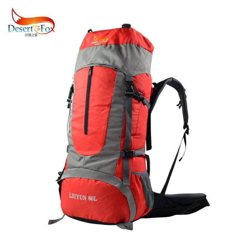 купить DesertFox 2017 New outdoor camping trip mountaineering bag 60L large capacity backpack climbing bag waterproof nylon hiking bag недорого