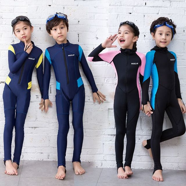 bf67aca6086be New Children s Conjoined long-sleeved swimsuit Kid Sunscreen Swimming  Snorkeling Quick dry clothes Jellyfish Diving Suit