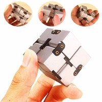 Luxury Aluminum Infinity Cube EDC ADD ADHD Office Study Relax toys Magic Square Infinite Flip Stress Relief and Anxiety Toy