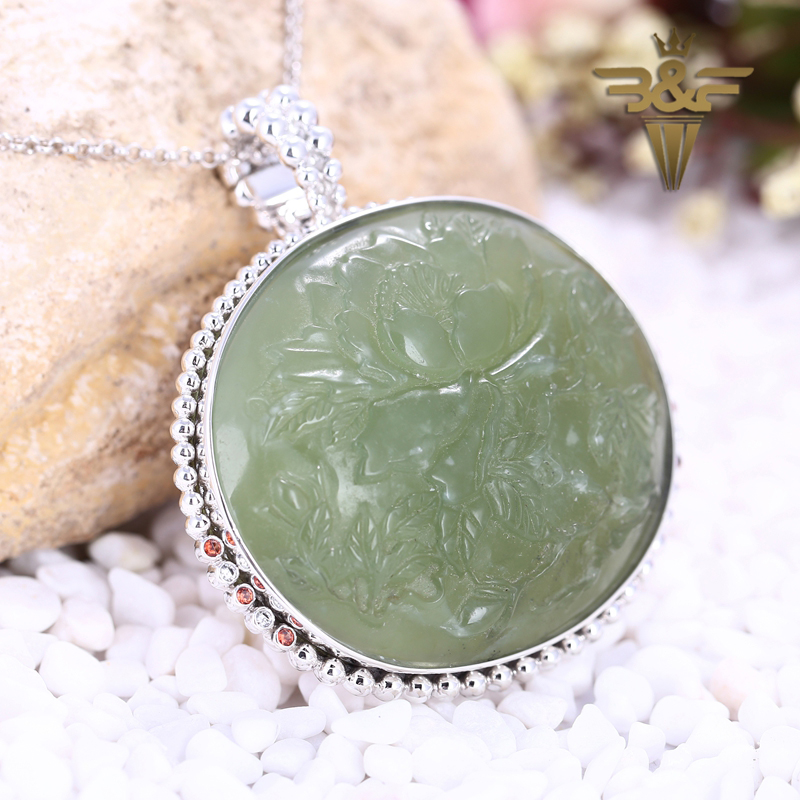 B&F Carved Natural Stone Nephrite Jade With Zircon Sterling 925 Silver Sweater chain mosaic Summer Style Long Pendant Jewelry home improvement marble stone mosaic tiles natural jade style kitchen backsplash art wall floor decor free shipping lsmb101